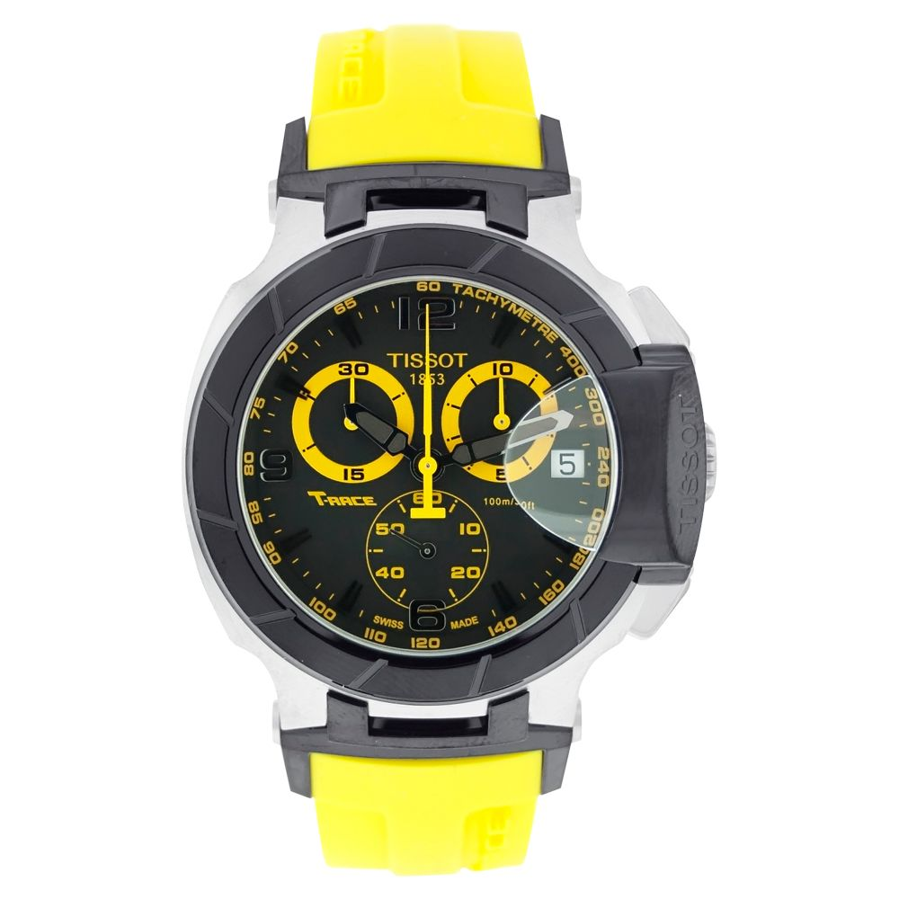 613-046 - Tissot Men's T-Race Swiss Quartz Chronograph Yellow Rubber Strap Watch