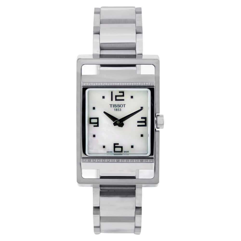 613-058 - Tissot Women's T-Trend Swiss Quartz Diamond Accent Mother-of-Pearl Dial Stainless Steel Watch