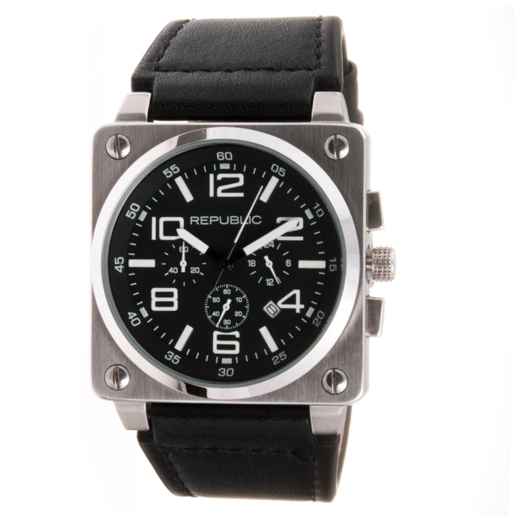 613-198 - Republic 44mm Aviation Japanese Quartz Chronograph Black Leather Strap Watch