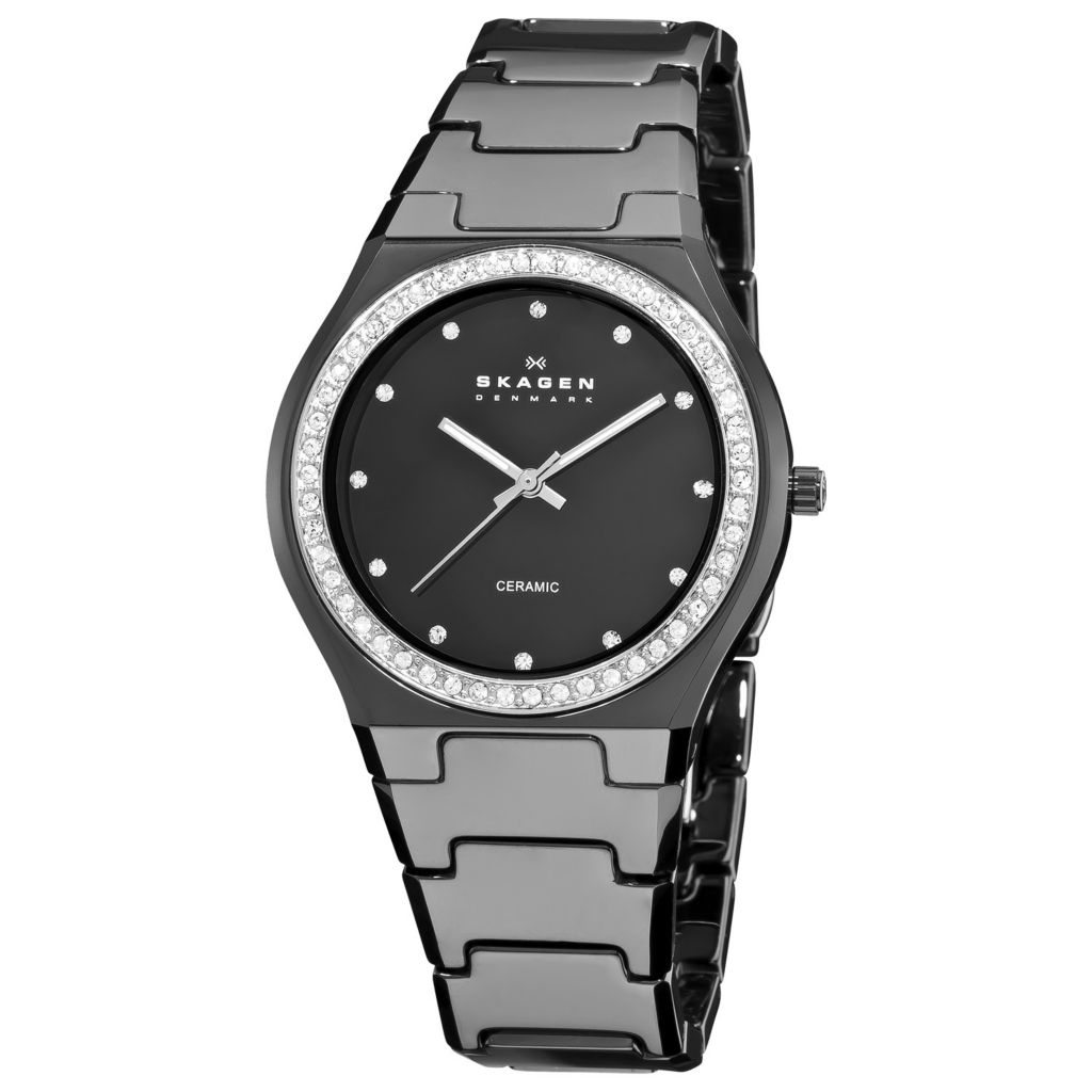 613-277 - Skagen Women's Quartz Diamond Bezel Black Ceramic Bracelet Watch 813LXBC
