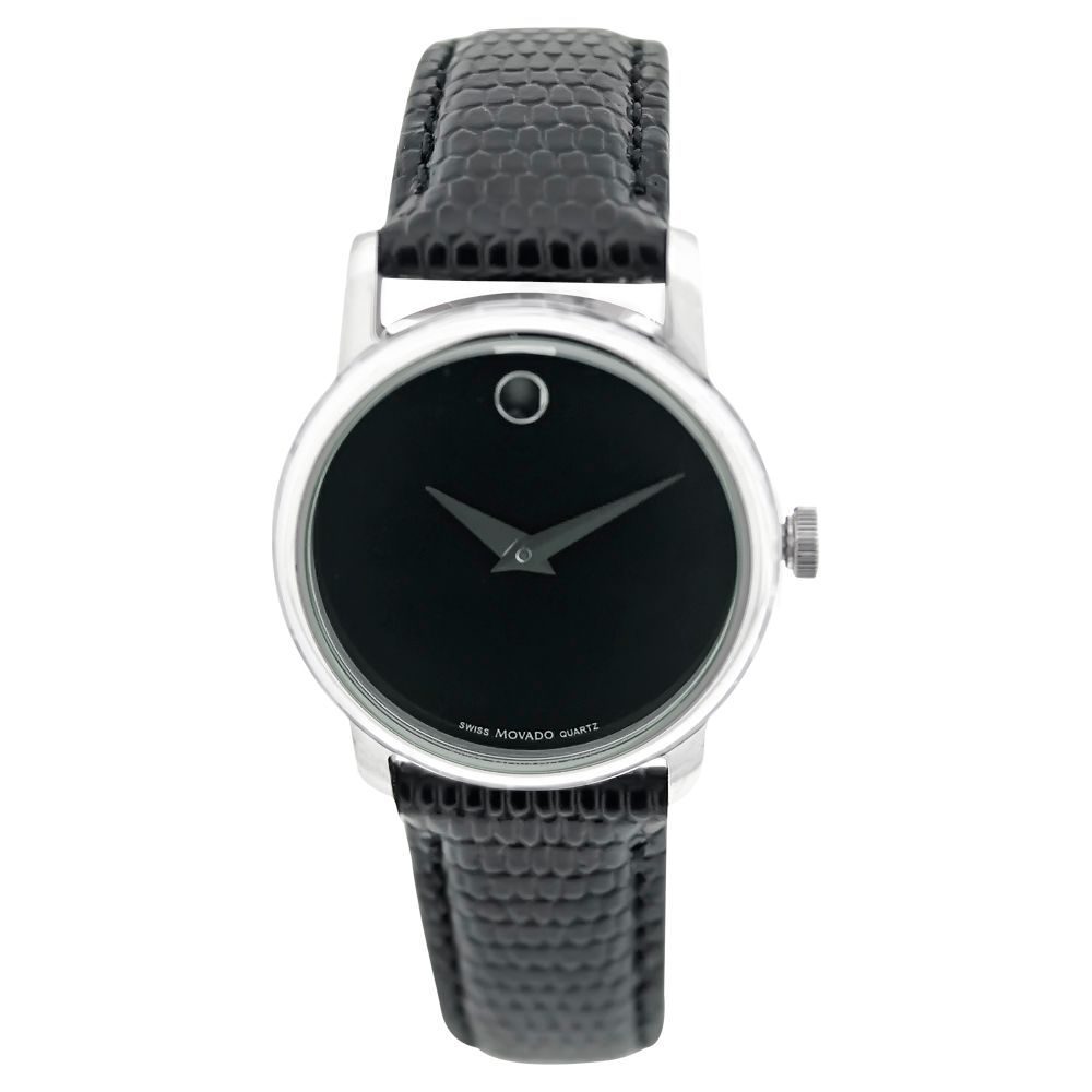 613-312 - Movado Women's Museum Swiss Quartz Black Leather Strap Watch