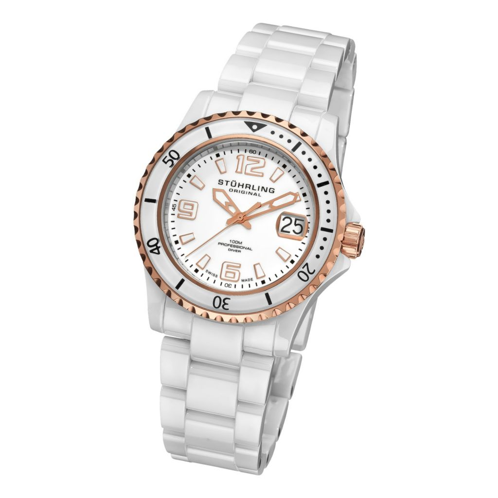613-343 - Stührling Original Women's Swiss Quartz Chevalier Ceramic Bracelet Watch
