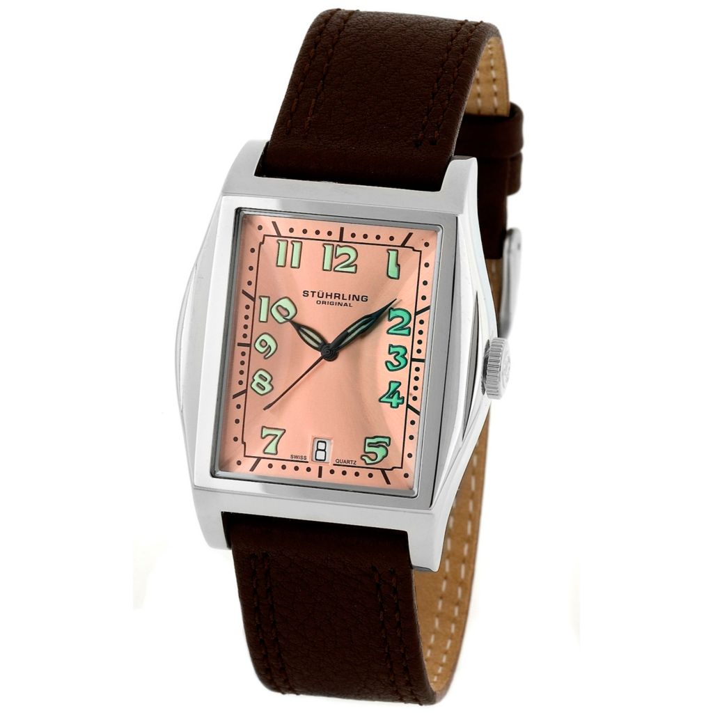 613-352 - Stührling Original Tonneau Swiss Quartz Basilica II Leather Strap Watch