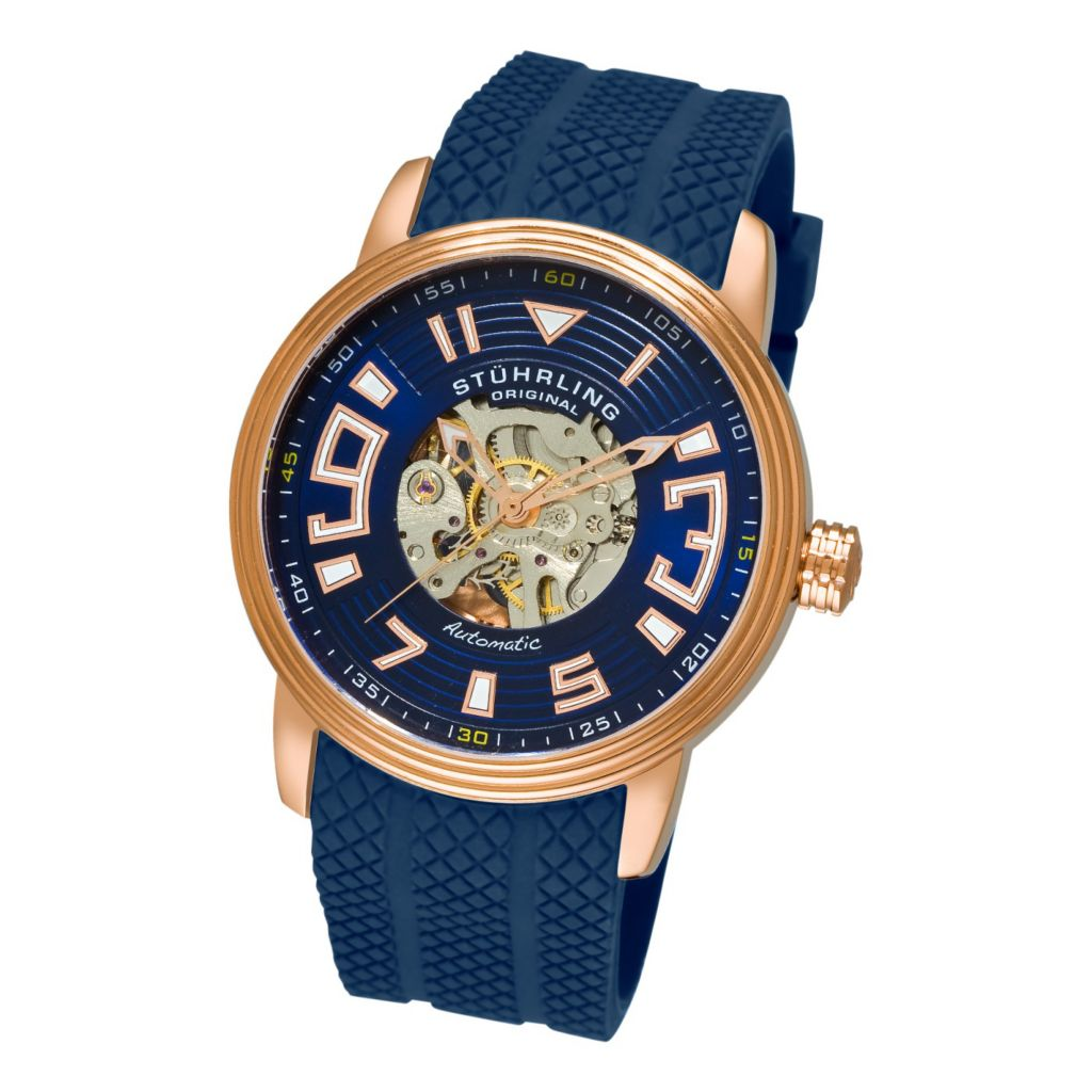 613-353 - Stührling Original Men's Automatic Delphi Archer Rubber Strap Watch