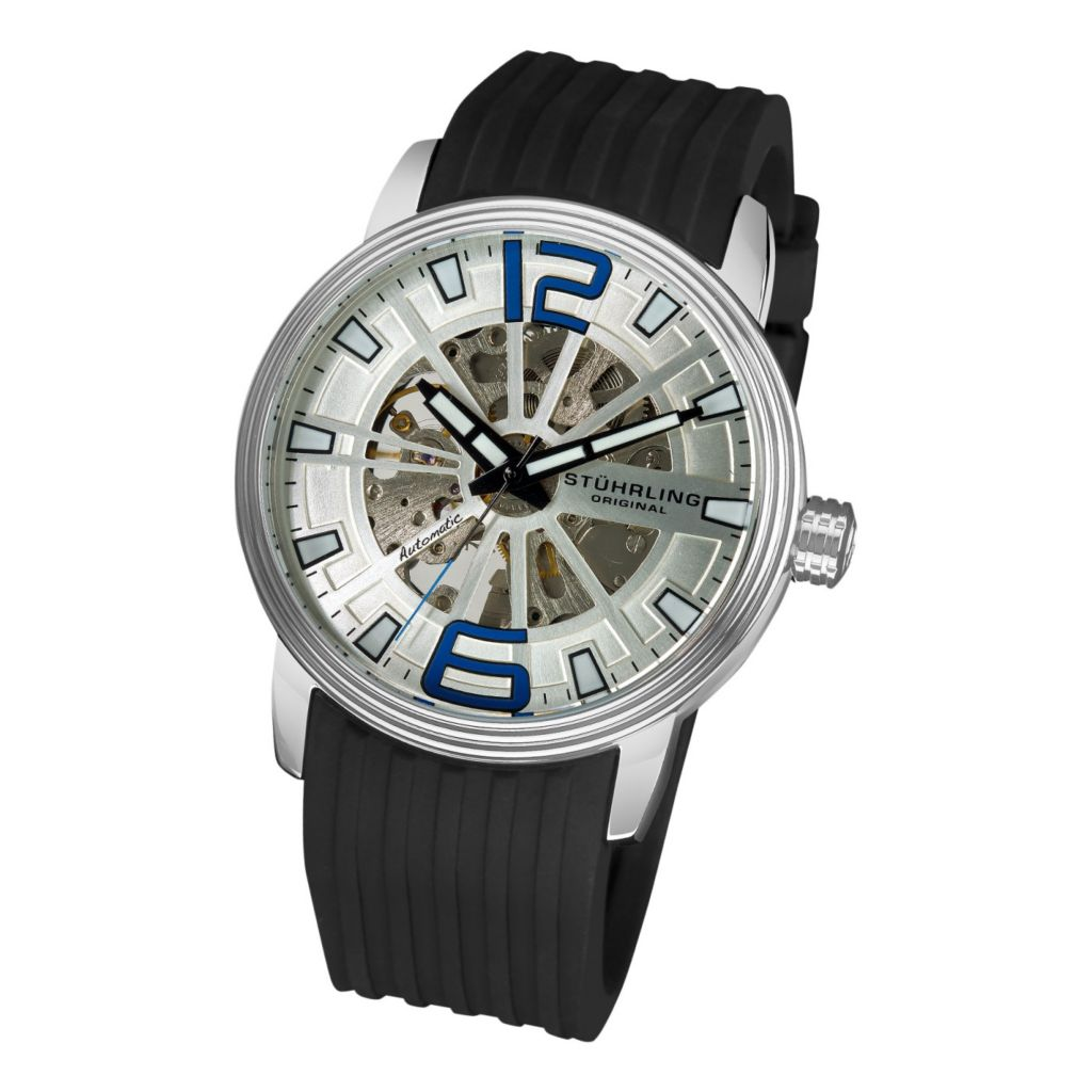 613-356 - Stührling Original Men's Automatic Delphi Achilles Rubber Strap Watch