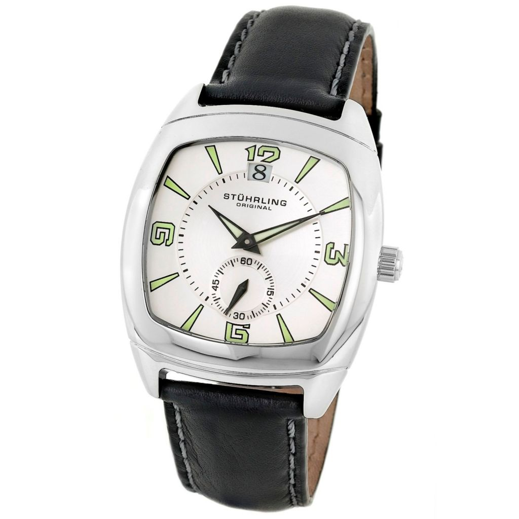 613-358 - Stührling Original Tonneau Quartz Princeton II Leather Strap Watch