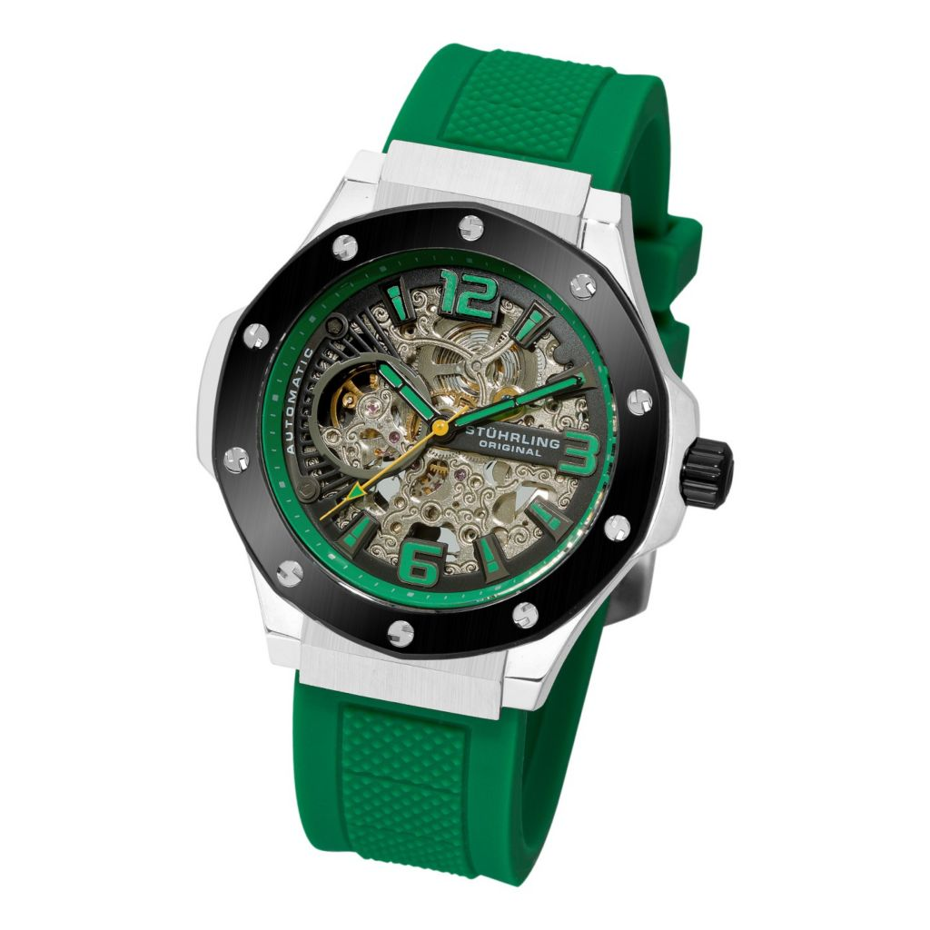 613-360 - Stührling Original Men's Apocalypse Manifesto Skeleton Automatic Rubber Strap Watch