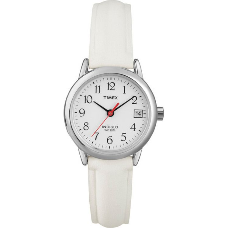 613-379 - Timex Women's Easy Reader Quartz White Leather Strap Watch