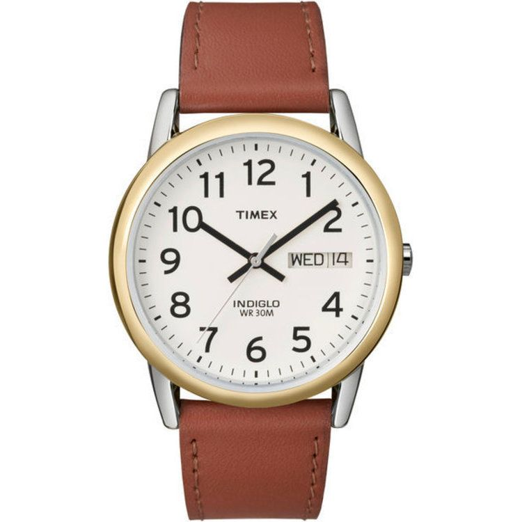 613-382 - Timex® Men's Easy Reader Quartz Brown Leather Strap Watch