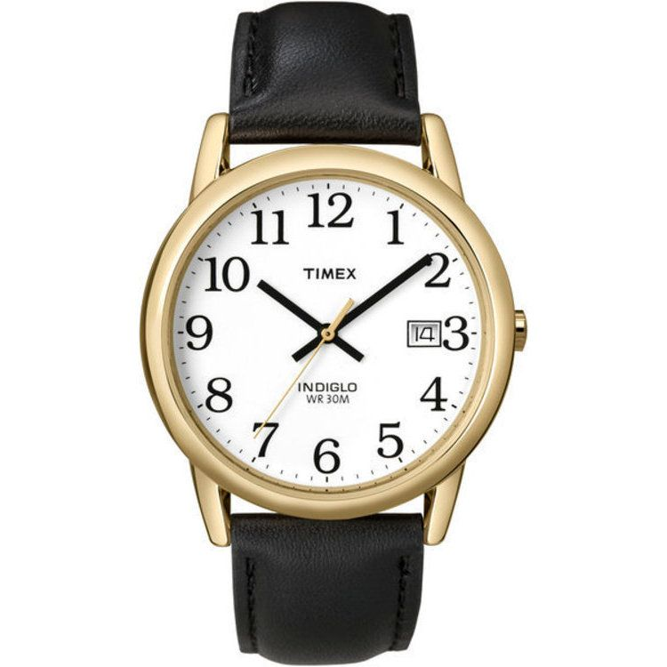 613-384 - Timex® 35mm Easy Reader Quartz Brass Case Black Leather Strap Watch
