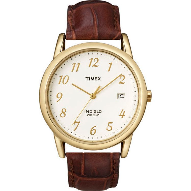 613-387 - Timex® 35mm Easy Reader Quartz Gold-tone Case Brown Leather Strap Watch