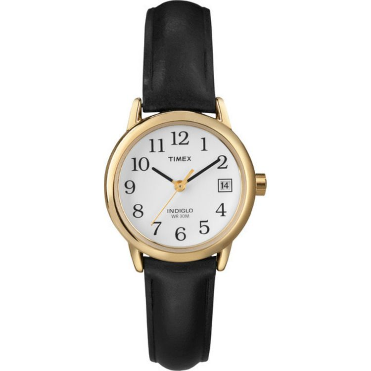 613-388 - Timex® Women's Easy Reader Quartz Gold-tone Case Black Leather Strap Watch
