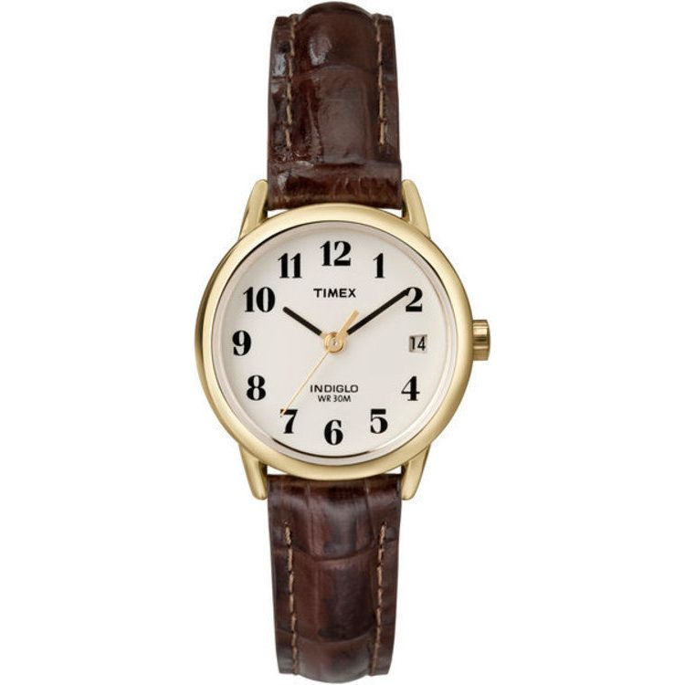 613-390 - Timex® Women's Easy Reader Quartz Gold-tone Case Brown Leather Strap Watch