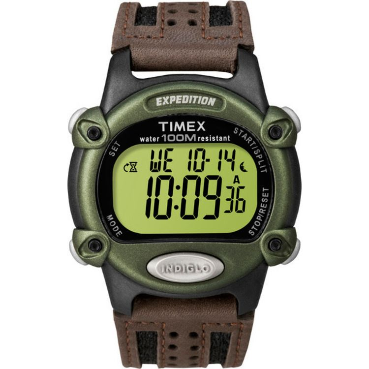 613-394 - Timex® 39mm Expedition Quartz Chronograph Brown Leather Strap Digital Watch