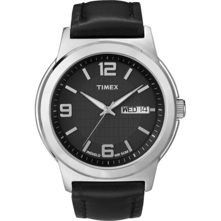 613-403 - Timex® 40mm Easy Reader Classics Dress Quartz Black Leather Strap Watch