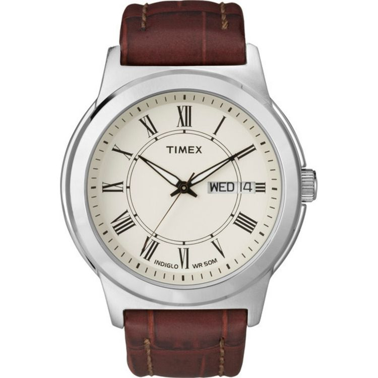 613-404 - Timex® 40mm Easy Reader Classics Dress Quartz Brown Leather Strap Watch