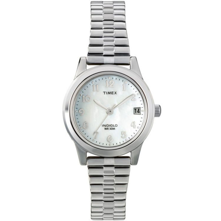613-418 - Timex® Women's Classic Expansion Quartz Mother-of-Pearl Dial Stainless Steel Bracelet Watch