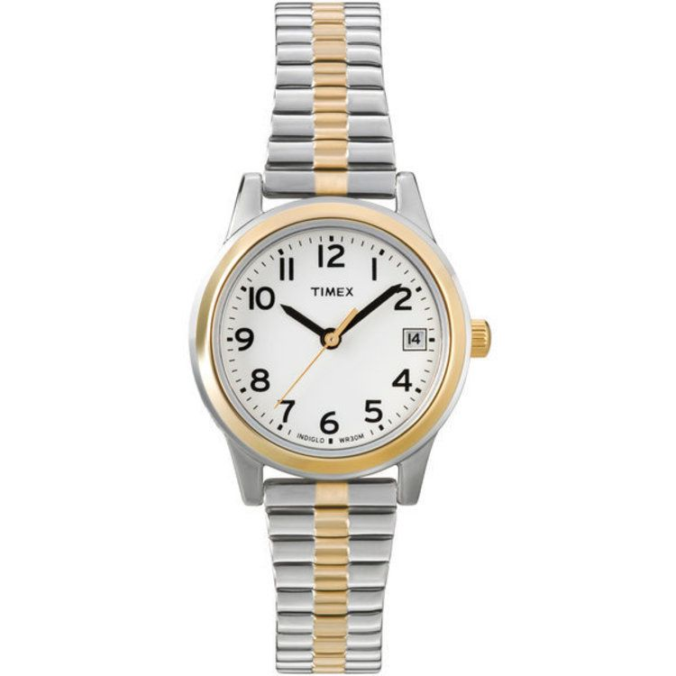 613-423 - Timex® Women's Classic Expansion Quartz White Dial Stainless Steel Bracelet Watch