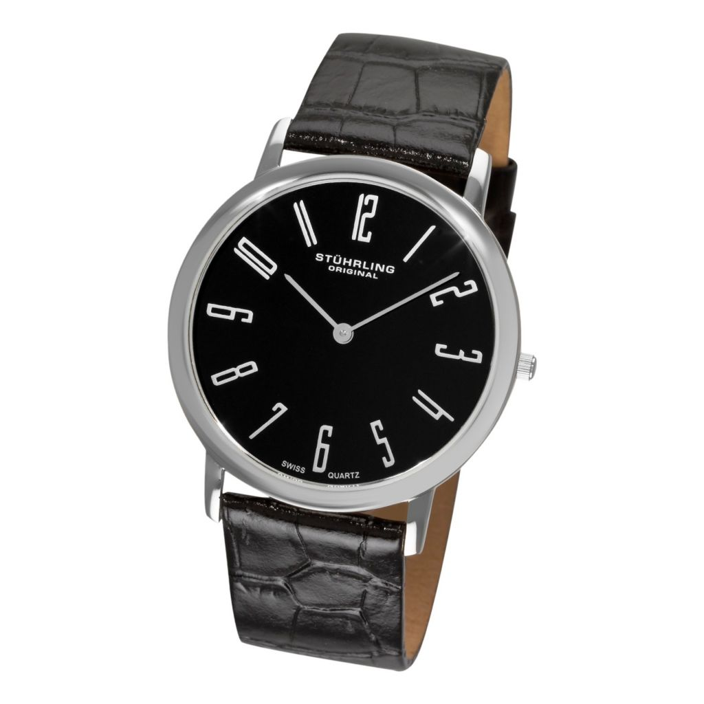 613-540 -  Stührling Original 38mm Belmont Quartz Leather Strap Watch