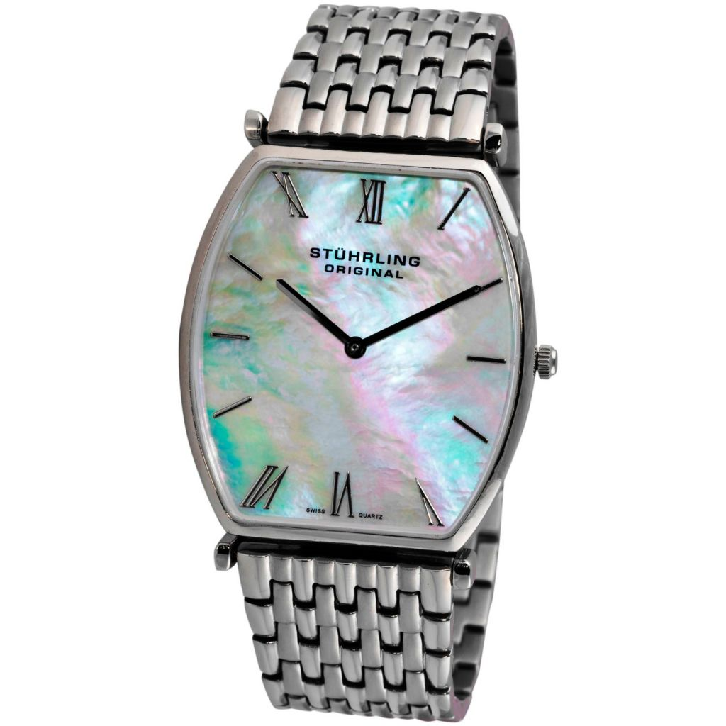 613-545 - Stührling Original Tonneau Meydan Quartz Mother-of-Pearl Dial Stainless Steel Bracelet Watch