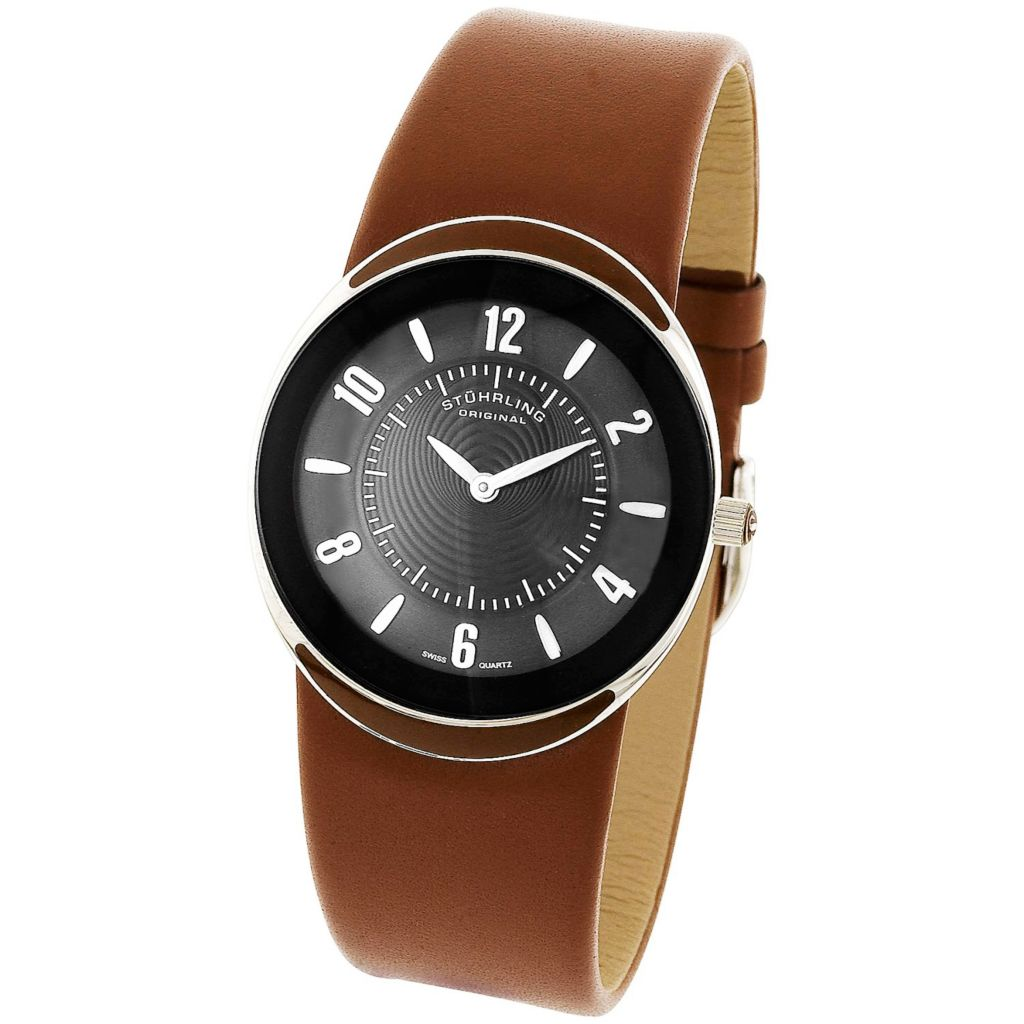 613-547 -  Stührling Original 34mm Movida Quartz Leather Strap Watch