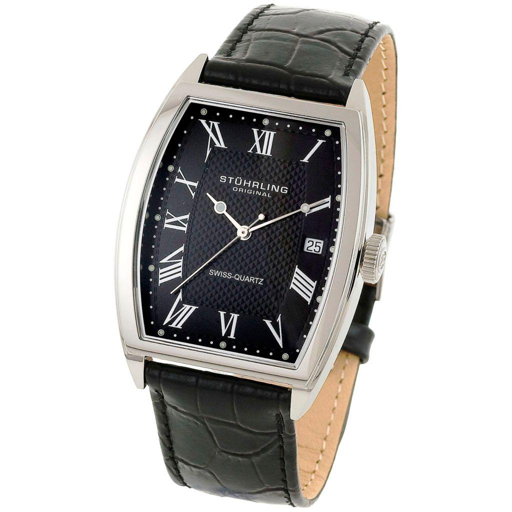 613-551 - Stührling Original Tonneau Park Avenue Quartz Leather Strap Watch