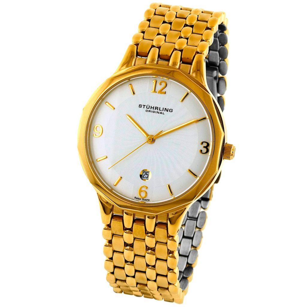 613-555 - Stührling Original 38mm Marquis Gentry Quartz Stainless Steel Bracelet Watch