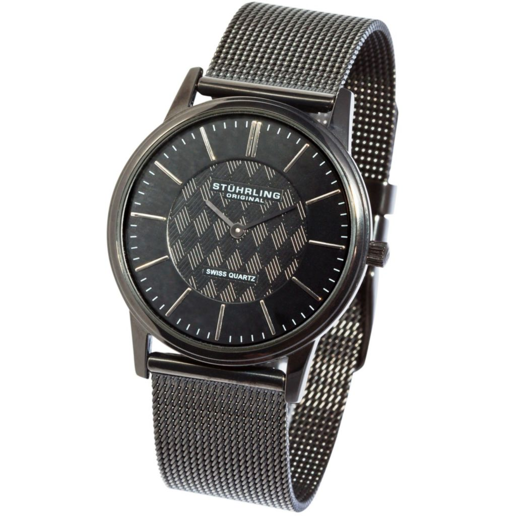 613-596 - Stührling Original 38mm Newberry Quartz Stainless Steel Mesh Bracelet Watch