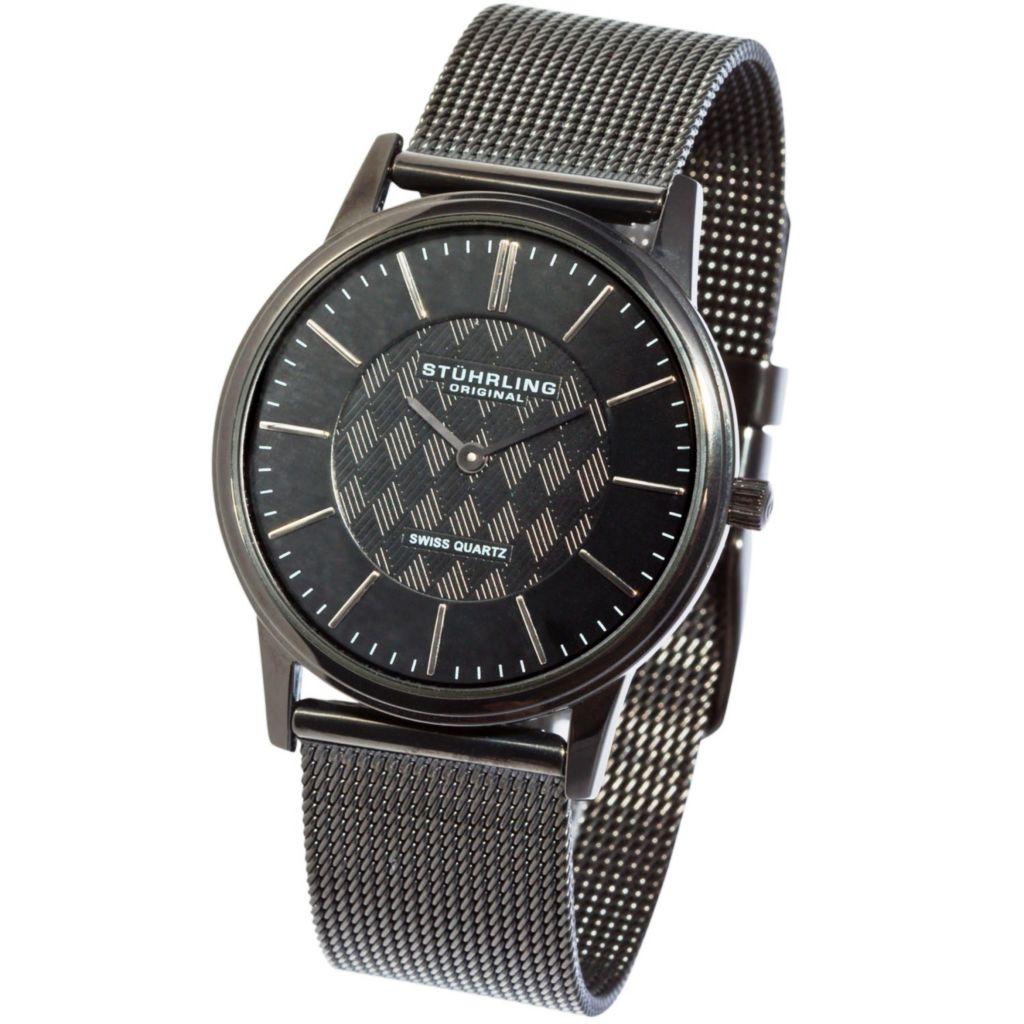 613-596 - Stührling Original 38mm Newberry Quartz Stainless Steel Mesh Bracelet Watch