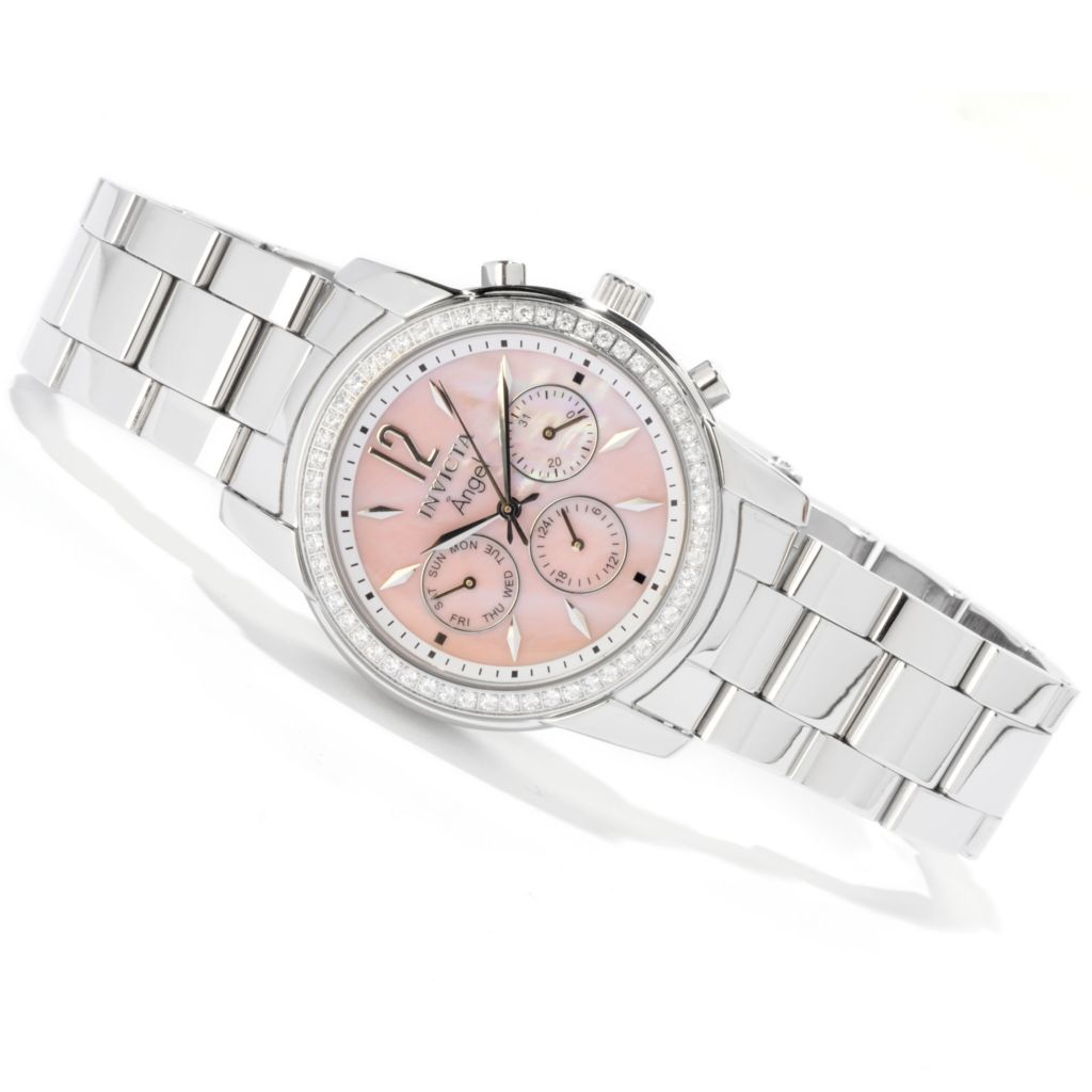 616-346 - Invicta Women's Angel Crystal Accented Bezel Mother-of-Pearl Bracelet Watch