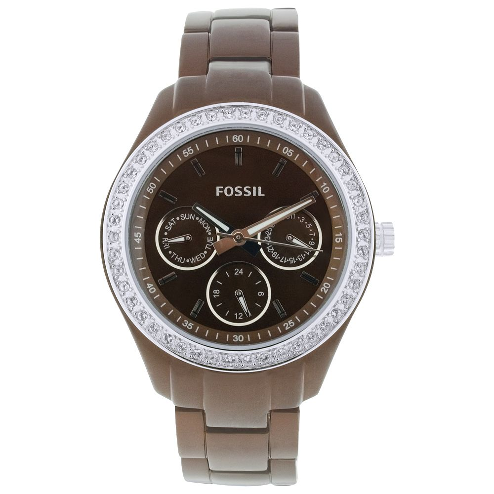 616-430 - Fossil Women's Stella Japanese Quartz Gray Stainless Steel Watch