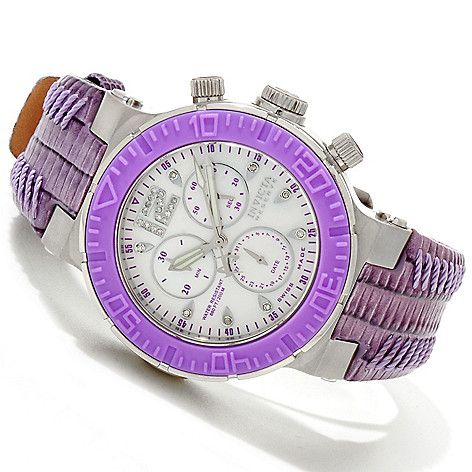 616-529 - Invicta Reserve Women's Ocean Reef Quartz Chronograph Diamond Accented Leather Strap Watch