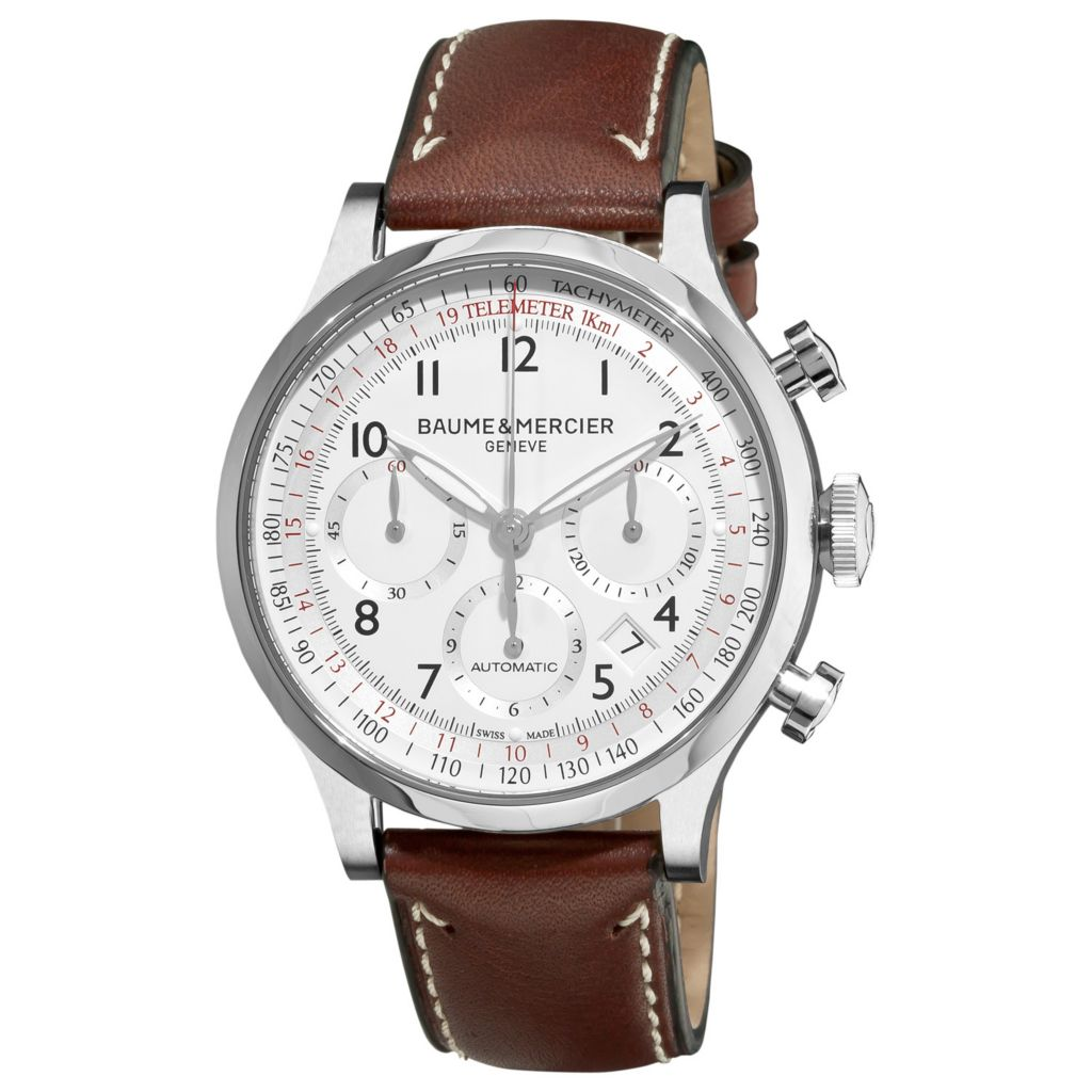616-536 - Baume & Mercier 42mm Capeland Swiss Made Automatic Chronograph Brown Leather Strap Watch