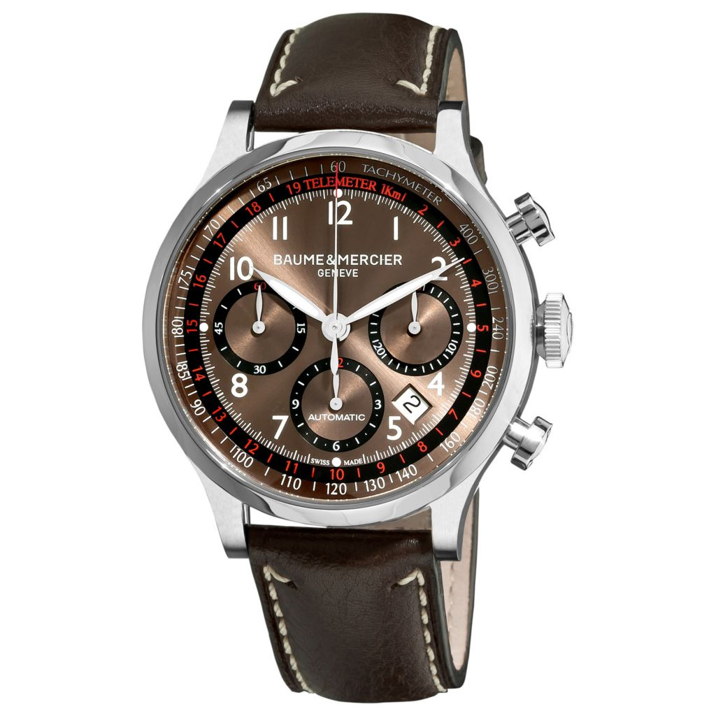 616-538 - Baume & Mercier 42mm Swiss Made Automatic Chronograph Brown Leather Strap Watch