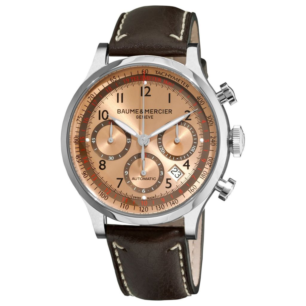 616-540 - Baume & Mercier Men's Capeland Swiss Made Automatic Chronograph Brown Leather Strap Watch