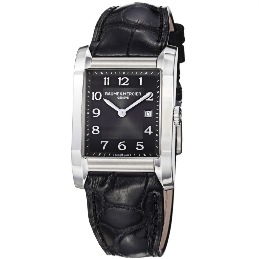 616-544 - Baume & Mercier Women's Hampton Swiss Made Quartz Black Leather Strap Watch