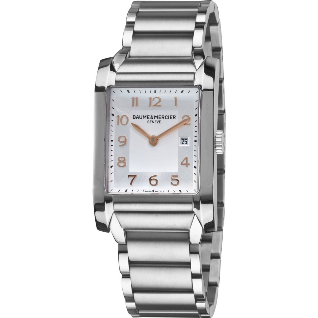 616-545 - Baume & Mercier Rectangular Hampton Swiss Made Quartz Stainless Steel Bracelet Watch