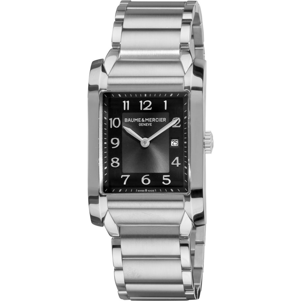 616-546 - Baume & Mercier Rectangular Hampton Swiss Made Quartz Stainless Steel Bracelet Watch