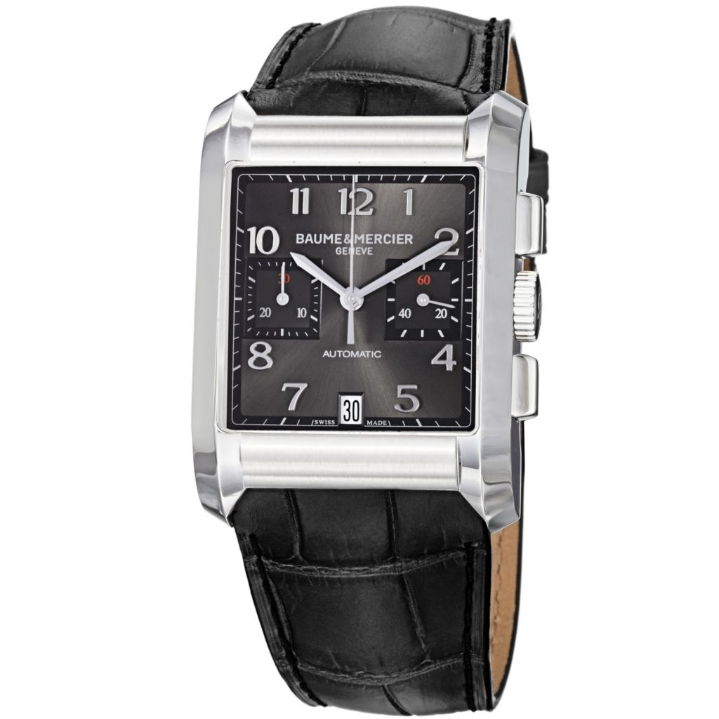 616-551 - Baume & Mercier Rectangular Hampton Swiss Made Automatic Chronograph Black Leather Strap Watch