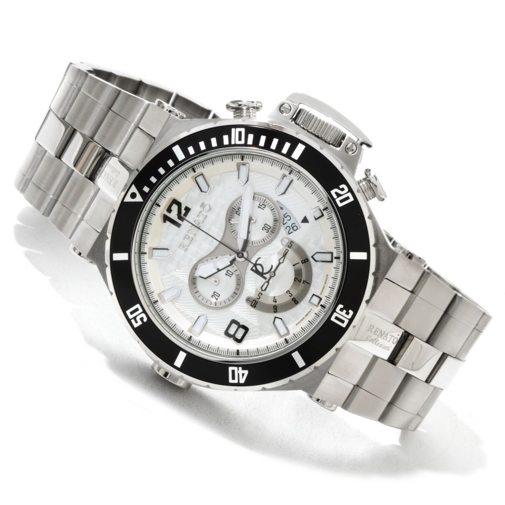 616-690 - Renato 50mm Wilde-Beast Swiss Quartz Chronograph Stainless Steel Bracelet Watch