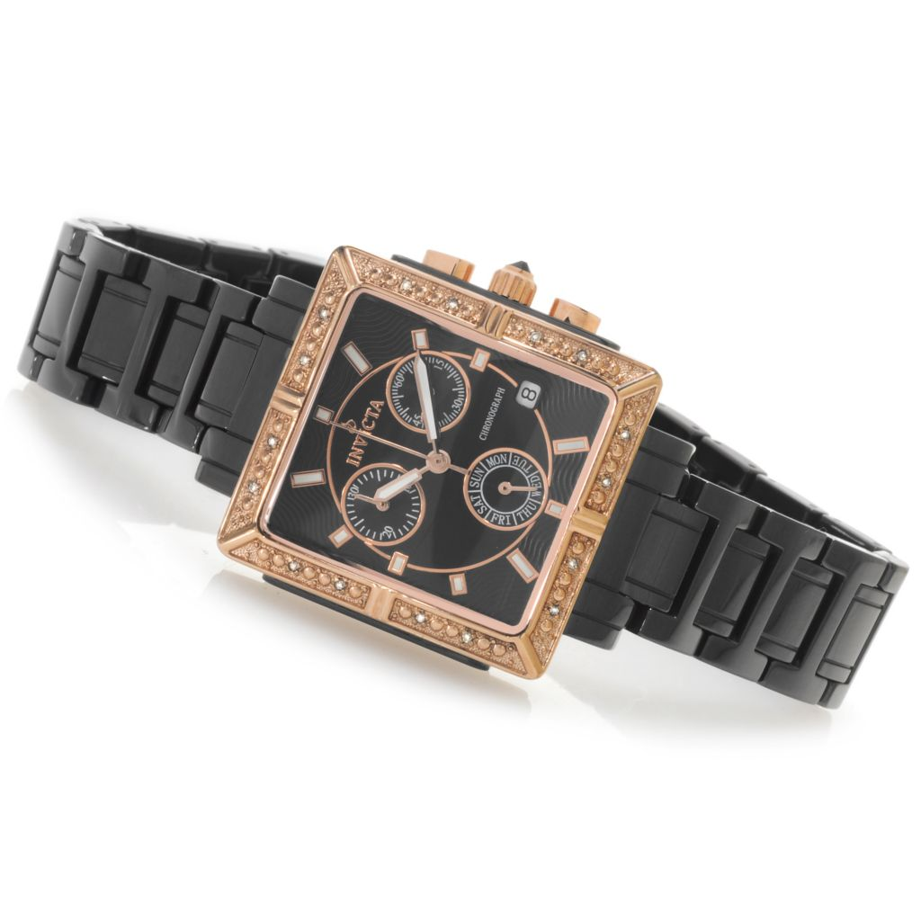 616-770 - Invicta Ceramics Women's Classique Quartz Chronograph Diamond Accented Ceramic Bracelet Watch