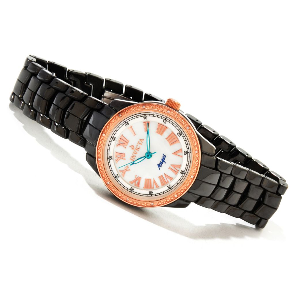 616-783 - Invicta Women's Angel Classique Ceramic Quartz Diamond Accented Rose-tone Bezel Bracelet Watch