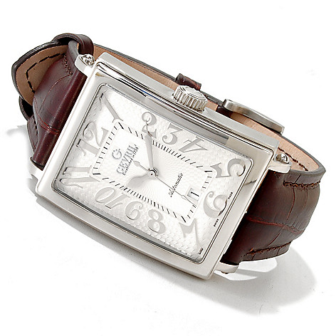 616-806 - Gevril Rectangular Avenue of the Americas Limited Edition Swiss Made Automantic Leather Strap Watch