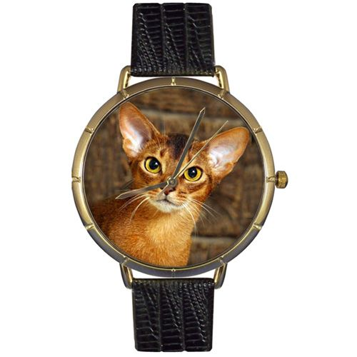 616-838 - Whimsical Watches Women's Japanese Quartz Abyssinian Cat Black Leather Strap Watch