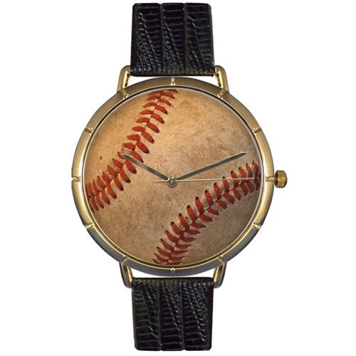 616-866 - Whimsical Watches Women's Japanese Quartz Baseball Lover Black Leather Strap Watch