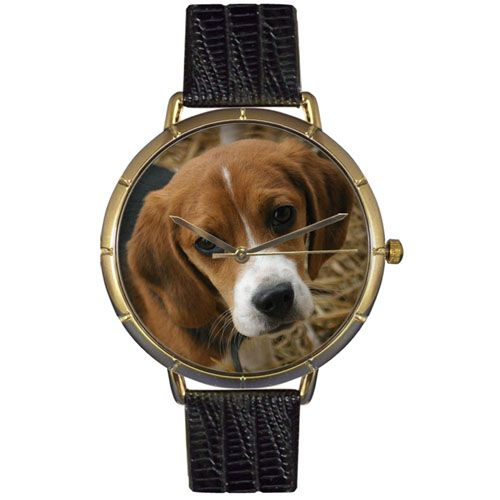 616-879 - Whimsical Watches Women's Japanese Quartz Beagle Black Leather Strap Watch