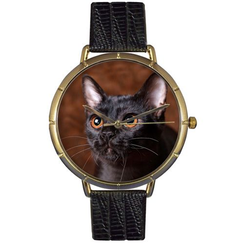 616-895 - Whimsical Watches Women's Japanese Quartz Bombay Cat Black Leather Strap Watch