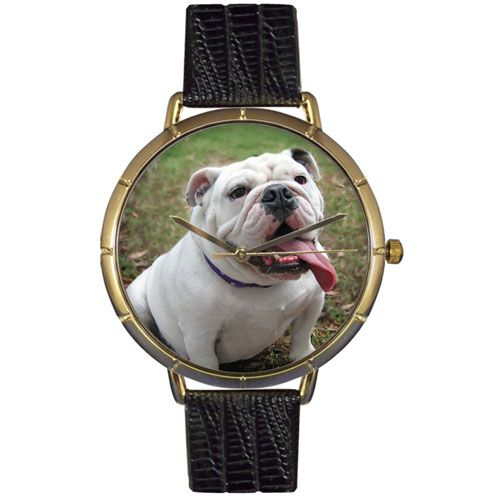 616-911 - Whimsical Watches Women's Japanese Quartz Bulldog Black Leather Strap Watch
