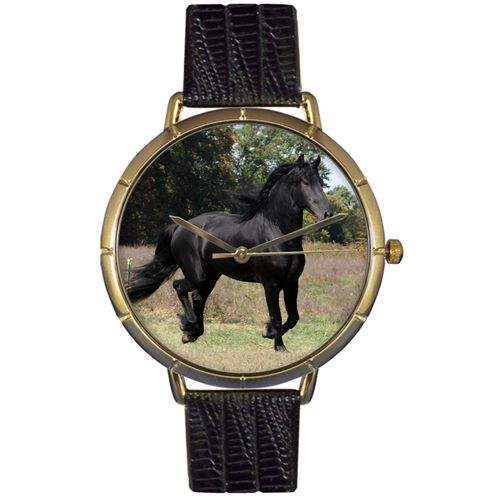 616-957 - Whimsical Watches Women's Japanese Quartz Friesian Horse Black Leather Strap Watch