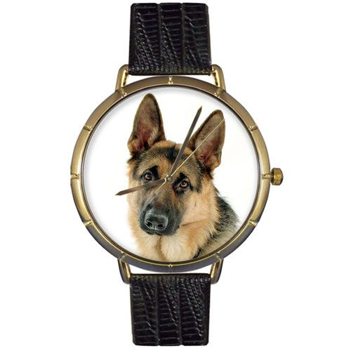 616-961 - Whimsical Watches Women's Japanese Quartz German Shepherd Black Leather Strap Watch